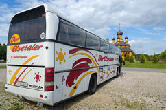 The sightseeing bus in the parking lot in Dudutki, Belarus Royalty Free Stock Photography
