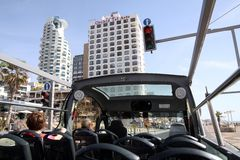Sightseeing bus on the promenade in Tel Aviv Stock Photography