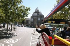 Sightseeing bus rides in Madrid Royalty Free Stock Image