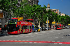 Sightseeing bus tour in barcelona. A shot of a barcelona double Decker sightseeing bus tour Stock Images