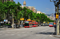 Sightseeing bus tour in barcelona. A shot of a barcelona double Decker sightseeing bus tour Royalty Free Stock Photos