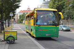 Sightseeing Bus Vienna. VIENNA, AUSTRIA - JULY 12: Vienna Sightseeing Bus For Tourists in Wien on JULY 12, 2015. Tourists on Tour in Hop On Hop Off Bus in Vienna Stock Photo
