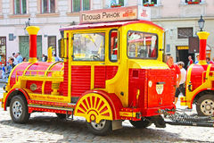 Sightseeing car train  in Lviv, Ukraine Royalty Free Stock Photos