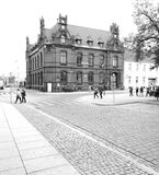Sightseeing Chelmno. Artistic look in black and white. Stock Photo