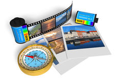 Sightseeing concept. Set of travel photos, film canisters and golden compass isolated over white background Stock Photography