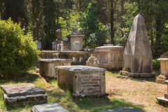 Sightseeing in Corfu City: interesting place - ancient and old b. Sightseeing in Corfu Town: interesting place - ancient and old british cemetery after the war Royalty Free Stock Image