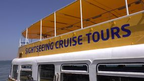Sightseeing Cruise Tours on Tagus River in Lisbon - LISBON / PORTUGAL - JUNE 14, 2017. Sightseeing Cruise Tours on Tagus River in Lisbon - LISBON, PORTUGAL 2017 stock video footage