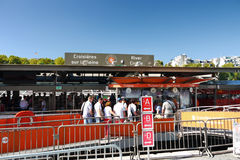 Ticket counter Sightseeing boat Seine river Paris  Stock Photo
