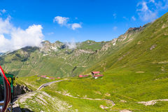 Sightseeing door de stoomtrein in Zwitserse alpen Stock Afbeelding