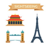 Sightseeing eiffel tower Paris, London bridge, China summer imperial palace traditional history landmark vector. Stock Images