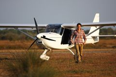 Sightseeing flights. Recreational flying with white plane Stock Photography