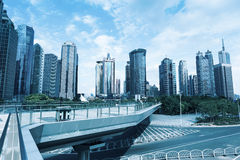 Sightseeing footbridge in shanghai downtown Stock Photography