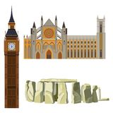 Sightseeing of Great Britain Westminster Abbey, Big Ben, Stonehenge. Vector illustration of symbols of England vector illustration isolated on white Royalty Free Stock Photos