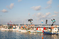 Sightseeing in Greece: traditional fishing boats on the greek is Royalty Free Stock Photography