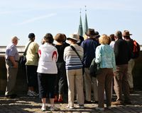 Sightseeing group. Group of elderly tourists on a sightseeing tour in Germany Stock Photography