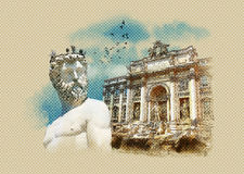 Sightseeing Italy. Statue of Neptune, Florence, Trevi Fountain (Fontana di Trevi) in Rome. Italy. Watercolor sketch. Sightseeing Italy. Statue of Neptune Stock Illustration
