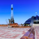 Focused view on Monument of Metallurgists in Historical and cultural center park area. Located in Temirtau, Kazakhstan stock photography