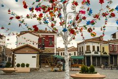 Sightseeing in Korca, Albania, Ottoman Old Bazaar. Korca, Albania. April 12, 2017: Easter week on Old Bazaar in the city. Sunny day captured with spring Stock Photos