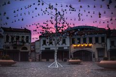 Sightseeing in Korca, Ottoman Old Bazaar by. One of the sights of Korca, Albania, ottoman Old Bazaar  captured in the evening with red and blue sunset sky Royalty Free Stock Photography