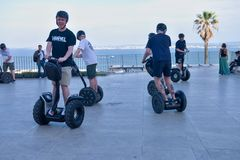 Sightseeing in Lisboa Gyropode Segway Royalty Free Stock Images