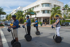 Sightseeing in Miami on segways Royalty Free Stock Images