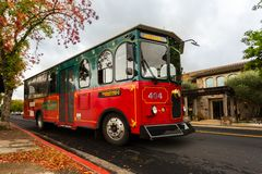 Sightseeing in Napa Valley, California, United States. Sightseeing trolley bus, Napa Valley in Autumn. Napa Valley, California, United States Stock Image