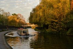 Sightseeing narrow boat Regents Canal London Royalty Free Stock Images