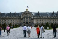 Sightseeing of Paris. Façade of the The National Residence of the Invalids. The court of honor of the Invalides. 05.04.2008, Paris, France. Sightseeing of royalty free stock image