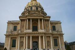 Sightseeing of Paris. Façade of the The National Residence of the Invalids. The court of honor of the Invalides. 05.04.2008, Paris, France. Sightseeing of stock photography
