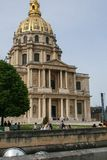 Sightseeing of Paris. Façade of the The National Residence of the Invalids. The court of honor of the Invalides. 05.04.2008, Paris, France. Sightseeing of royalty free stock photos