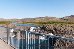 Sightseeing platform near Waterfall Glanni in Iceland. Sightseeing platform near Waterfall Glanni in Nordura River in Borgarfjordur in Iceland Stock Images