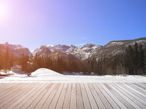 Sightseeing platform of snow mountain area Stock Photography