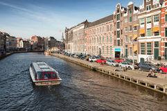 Sightseeing pleasure boat in Amsterdam Stock Photography
