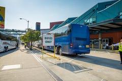 Sightseeing tour buses Stock Photo