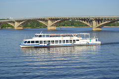 The sightseeing tour by water in Kyiv (Ukraine) Royalty Free Stock Image