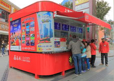Sightseeing tourist bus ticket office  Shanghai China Royalty Free Stock Image