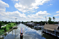 Sightseeing tours by long tail boats. Normally seen in Thailand Stock Photos