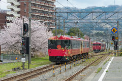 Sightseeing train Hanayome Noren Bride's good luck charm. Royalty Free Stock Photos