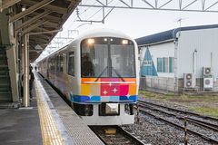 The sightseeing train Kirakira Uetsu at Tsuruoka station. Royalty Free Stock Image