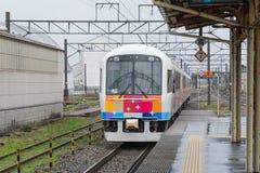 The sightseeing train Kirakira Uetsu at Tsuruoka station. stock photography