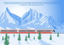 Sightseeing train running in mountains, the Glacier Express in winter. Sightseeing train running in mountains, the Glacier Express in the winter stock illustration