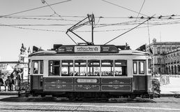 Sightseeing tram in the historic district of Lisbon called Electrico - LISBON / PORTUGAL - JUNE 15, 2017. Sightseeing tram in the historic district of Lisbon stock photography
