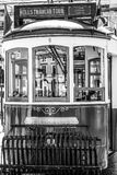 Sightseeing tram in the historic district of Lisbon called Electrico - LISBON / PORTUGAL - JUNE 15, 2017. Sightseeing tram in the historic district of Lisbon royalty free stock images
