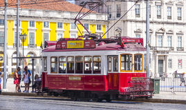Sightseeing tram in the historic district of Lisbon called Electrico. LISBON, PORTUGAL - 2017 royalty free stock photos