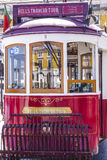 Sightseeing tram in the historic district of Lisbon called Electrico. LISBON, PORTUGAL - 2017 royalty free stock photography