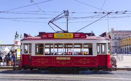 Sightseeing tram in the historic district of Lisbon called Electrico. LISBON, PORTUGAL - 2017 royalty free stock image