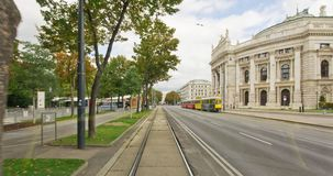 Sightseeing tramway ride in Vienna. Hyperlapse time-lapse out of moving tram line number 71. Sightseeing tour along the famous Ringstrasse and Schwarzenbergplatz stock video