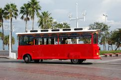 Sightseeing trolley in Florida. Sightseeing tour bus at popular travel destination Stock Image
