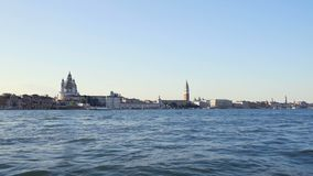 Sightseeing in Venice, view on attractions from touristic boat, water tour. Stock footage stock video