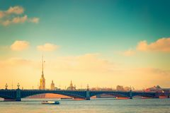 Sightseeing view of Neva river and old architecture in St Peters. Burg, Russia Stock Photos